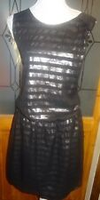 NEXT BLACK /GOLD STRIPE SATIN LINED MOCK WRAP OCCASION DRESS SIZE 16 BNWT.