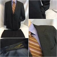 Brooks Brothers Suit 44L Gray Wool 2B 1V 40x30 Flat Front USA YGI E9-191