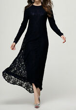 Abaya Muslim Women Kaftan Lace Long Sleeve Dress Islamic Jilbab Maxi Dresses M