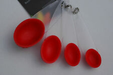 KLEENEZE ANZO SET OF 4 MEASURING SIZE SPOONS COLOUR RED