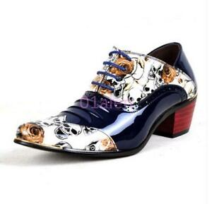 Mens Skull Floral Mid Chunky Heel Lace Up Clubwear Dress Shoes Pumps 38-44 hot