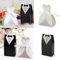 5pcs Bridal Groom Box Case Tuxedo Dress Candy Box Ribbon Wedding Favor Gift Box