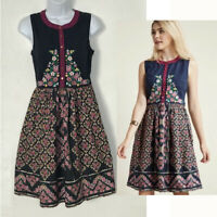 ModCloth Navy With Pink Flowers Floral Embroidered Dress Has Pockets Size XS