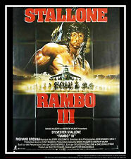RAMBO 3 Style B Stallone 4x6 ft Vintage French Grande Movie Poster Original 1988