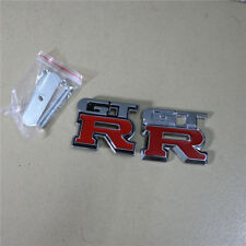 Red GT-R Metal Grille Emblem + Sticker Badge Sport Turbocharged nismo r33 r34 3D