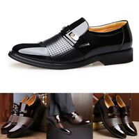 Men Formal PU Leather Shoes Business Formal Slip on Breathable Hollow Shoes
