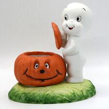 Vintage 1986 Casper the Friendly Ghost Pumpkin Halloween Figurine Candle Holder