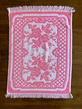 Vintage Tastemaker Bath Towel Sculpted Pink Rose Floral Fringe 23x16