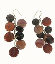 Agate and smoky quartz Gemstones Trendy Earrings 18 K Gold plated 925 SS
