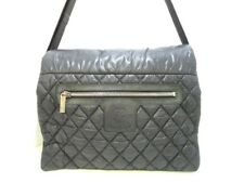 Auth CHANEL Coco Cocoon Black Nylon &  Leather Shoulder Bag
