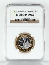 2000-W Library of Congress Bimetallic $10 Coin Graded by NGC PF69 Ultra Cameo