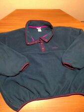 VTG LL BEAN MENS T SNAP FLEECE JACKET TEAL PURPLE ACCENTS