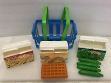 Vintage Fisher Price Waffle, Peas, Fries Box w/ Shopping Tote Fun Fill Food 1987