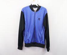 Vintage 80s Adidas Mens Medium Run DMC Trefoil Spell Out Striped Jacket Blue