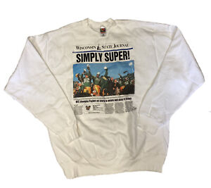 Vtg 97 Green Bay Packers Supebowl XXXI Men's Simply Super Sweater Size XL USA