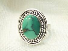 Estate Sterling Silver Beautiful Turquoise Ring .925 Caviar Bead Border