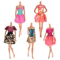 5 Pcs Handmade Wedding Dress Party Gown Clothes Outfits For  Doll Gift KA