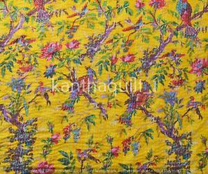Indische Gelb Vögel Druck Kantha Decke Tagesdecke Wendbare Vintage Baumwolle