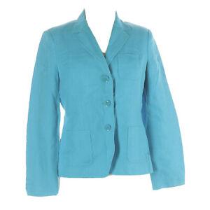 TALBOTS Petites Womens Jacket Blazer Blue 100% Irish Linen Career Office Size 6