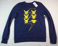NWT  Womens Pikachu Pokemon Crew Neck Top Shirt Juniors Size XS Long Sleeve Navy