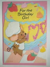 "Hallmark ~ EMBOSSED ""FOR THE BIRTHDAY GIRL"" GREETING CARD + PINK/BLUE ENVELOPE"