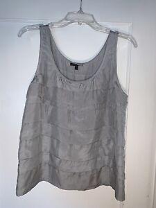 Eileen Fisher Gray Silk Tiered Ruffle Sleeveless Top size M  b471