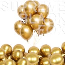 50 Gold Metallic Balloons Chrome Shiny Latex 12