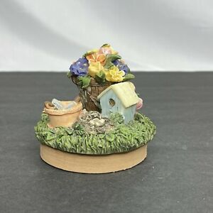 Spring Garden Flowers and Birdhouse Candle Topper