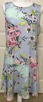 NWT Nicole Miller size 12 blue pink green floral sleeveless flare bottom dress
