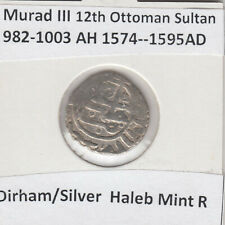 More details for ottoman empire dirhem haleb mint murad iii 982-1003ah/1574-1595ad  rare coin!