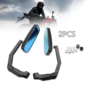 2xAnti-glare Motorcycle Modification Aluminum Square Rearview Mirror Curved Rod