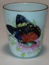 Chamart Limoges France Gold Rim Cup With Colorful Monarch Butterfly