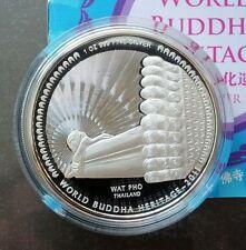 2011 Bhutan Buddha Heritage Wat Po Thailand 1oz 999 Silver Proof Colour Coin