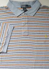 New Polo Ralph Lauren Light Blue Striped Cotton Interlock Polo Shirt / 2XLT