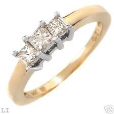 Terrific Ring With Genuine Princess Cut Diamonds