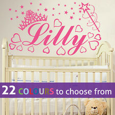 PERSONALISED baby girls NAME princess crown stars wall art sticker decal nursery