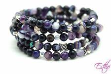 Handmade Semi Precious Stone Bracelet Agate Beads Bag 4 in1 Mother's Day Gift