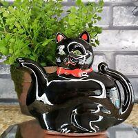 Vintage Black Cat Green Eyes 1950s TEAPOT WALL POCKET Deco GOTH  Shafford Japan