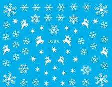 Christmas Xmas WHITE Snowflakes Stars Reindeers Nail Art Water Transfers Decals