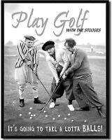 Three Stooges Play Golf Metal Tin Sign TV Funny Humor Retro Garage Bar Decor New