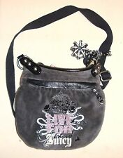 """Juicy Couture Gray Hobo Velour & Leather """"Live For Juicy"""" Bag"""