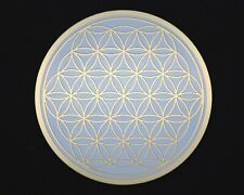 Flower of life gold plated crystal grid coaster, sacred geometry disc
