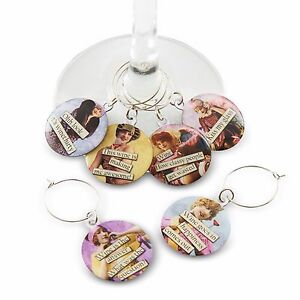 Funny Vintage Women Wine Glass Charms - Set of 6 Wine Tags Markers