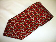 PAOLO GUCCI Maroon W/ Print Design of Gold, Green & White Silk Tie Italy EXELENT