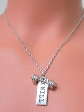 SILVERTONE CROSSFIT Weight Lifting BARBELL Fitness 'I WILL' Cable CHAIN NECKLACE
