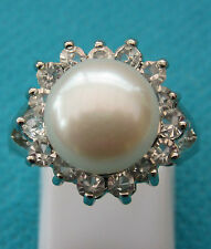 925 Silver Plated Ring With Natural F/W Pearl & Topaz Size N US 6.75 (rg2561)