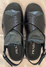 Prada Mens Black Leather Stampa Cocco Sandals Size 10