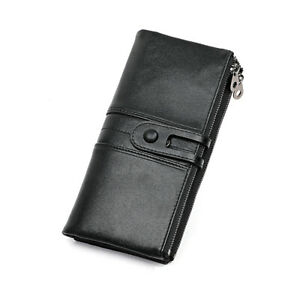 Women's RFID Large Capacity Full Grain Leather Cell Phone Holder Clutch Wallet