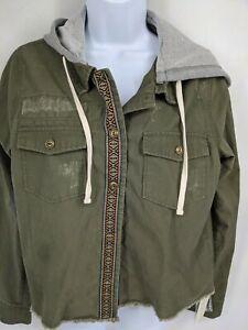 NWT Hippie Rose Jacket Olive Cropped Size medium Cotton Hoodie