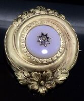 Antique Chalcedony Brooch Pin Victorian Star Of Destiny Silver Gold Gilt C.1860s